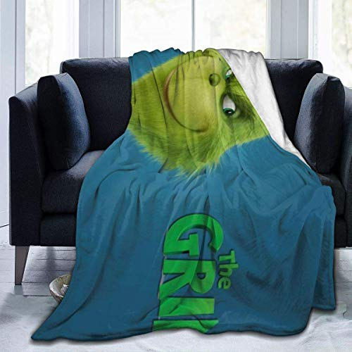 The Grinch Movie Christmas Flannel Throw Blanket Soft Bedspread Blanket Home Decor Perfect for Couch Bed 80x60 inch