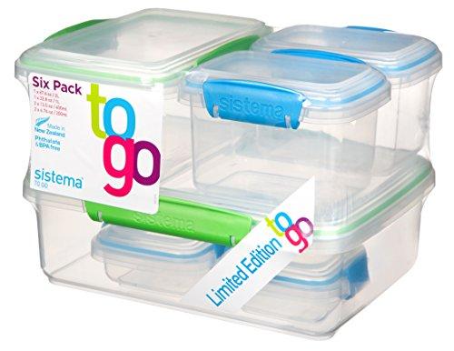 Sistema To Go Contenedores de almacenamiento de alimentos, multicolor, paquete de 6
