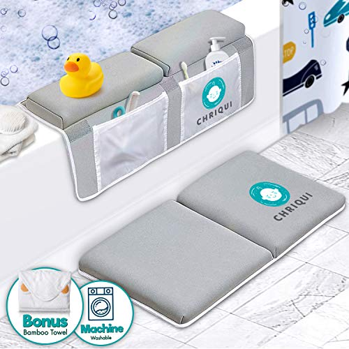 Bath Kneeler with Elbow Rest Pad Set, Thick Kneeling Pad and Elbow Support for Knee & Arm Support Large Padded Bathtub Kneeling Mat with Toy Organizer for Happy Bathing Time – Bonus Bamboo Towel