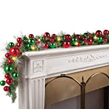 Collections Etc Lighted Colorful Ornament Wreath Garland RED and Green