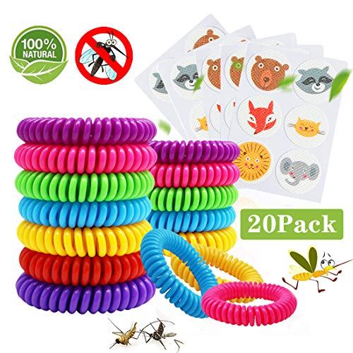 Braccialetti Antizanzare 15Pcs e Patch Repellenti 5Pcs, Set Repellente per Zanzare Repellenti Outdoor Indoor per Bambini, Adulti, Uomini e Donne Cerotti Antizanzare Neonati