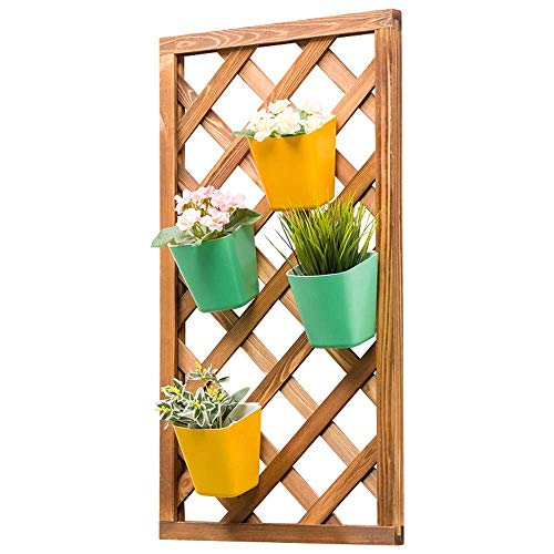 CHHD Flower Stand Save Indoor Balcony Garden Decoration Plant Hanger Wall Hanging Flower Frame Grid Frame Wooden Anti-corrosion Floating Shelf Hanging Herbal Space Balcony Organizer Planter