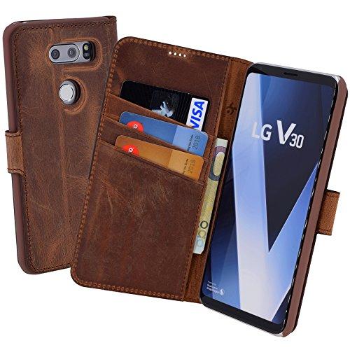 Suncase Book-Style (Slim-Fit) für LG V30 / V30 Ledertasche Leder Tasche Handytasche Schutzhülle Case Hülle (mit Standfunktion & Kartenfach) antik coffee