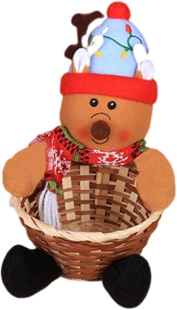 SanZHONGsd Cesta de almacenamiento de dulces navideños, cesta de frutas de Navidad feliz Navidad adorno decorativo regalo para decoración del hogar almacenamiento