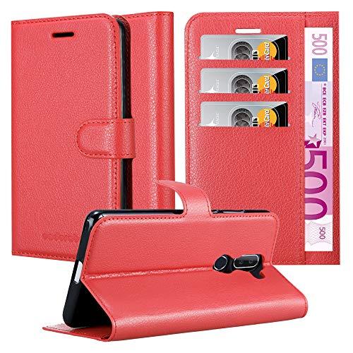 Cadorabo Hülle für Alcatel 3V in Karmin ROT – Handyhülle mit Magnetverschluss, Standfunktion & Kartenfach – Case Cover Schutzhülle Etui Tasche Book Klapp Style