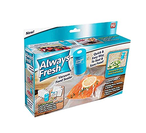 always fresh Seal VAC affs-tv, Vacuum food con 6sacchetti riutilizzabili, 2x 2x 3.5in, blu