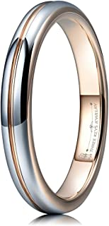 THREE KEYS JEWELRY 3mm 7mm White Tungsten Wedding Ring Rose Gold Grooved Dome Brushed Engagement Band