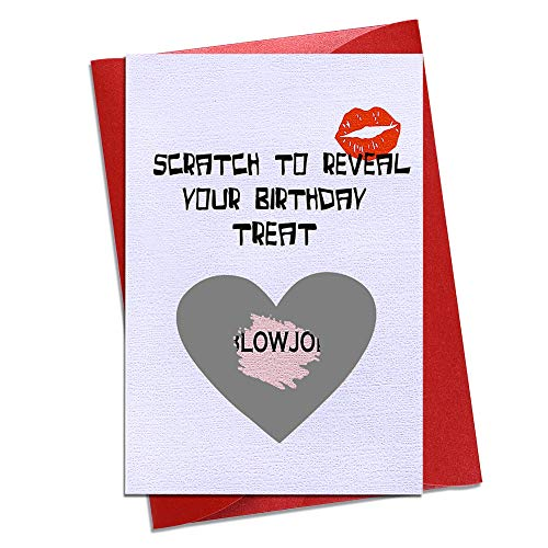 """Hohomark Funny Scratch Off Birthday Card 4""""x 6"""" Naughty Birthday Cards for Husband Boyfriend Fiance Him Men Birthday Gifts Greeting Card for Girlfriend Wife Adults with Envelope"""