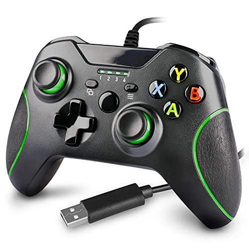 Controle com fio para Xbox One, controle remoto com fio atualizado para Xbox One/S/X/Elite/PC Windows (Preto)