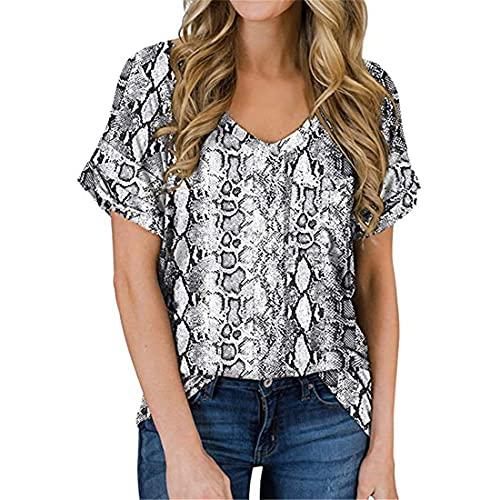 Camiseta con Hombros Descubiertos de Leopardo Manga básica Camiseta Camiseta con Cuello en V Blusas Efecto Tie Dye en Bloques de Color para Mujer Camiseta con Manga Corta con Efecto Tie Dye Suelta