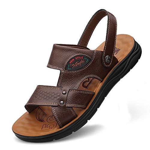 dihui Herren Print Slide Sandale,Lässige Strandschuhe für Herren aus Leder, zweigeteilte Sandwalp-Schuhe aus Rindsleder - Dunkelbraun_38,Stretch Sandale Open Toe