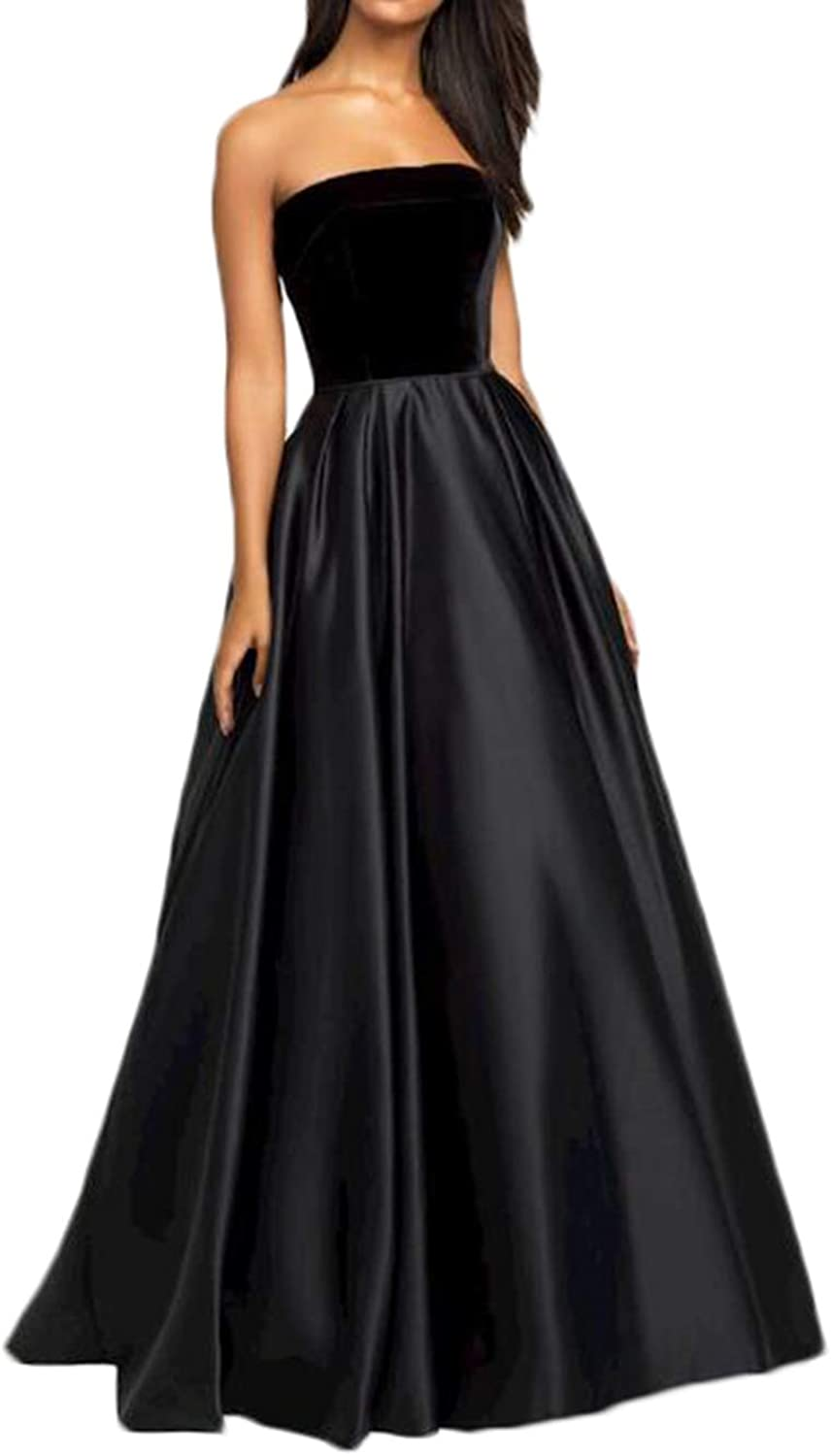 Alilith.Z Sexy Strapless Prom Dresses 2019 Long Velvet Top Satin Party Gowns Formal Dresses for Women Evening Ball