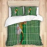 MOBEITI Bedding Bettwäsche-Set,Karikatur-Frosch-lustiger Badefrosch, der Zähne putzt Nettes Tier für Kinder,Mikrofaser Bettbezug und Kissenbezug - (135 x 200 cm)
