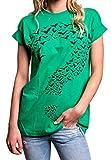 MAKAYA Frikis Top Oversize Manga Corta - Interrogante - Camiseta Ancha Mujer Tallas Grandes Verde S
