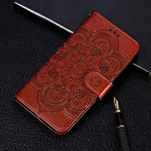 Wdckxy - Funda de piel con tapa para iPhone 11 Pro, con tarjetero, cartera, marco de fotos y cordón (color: marrón)