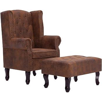 vidaXL Fauteuil Chesterfield et Repose Pieds Chaise de Salon