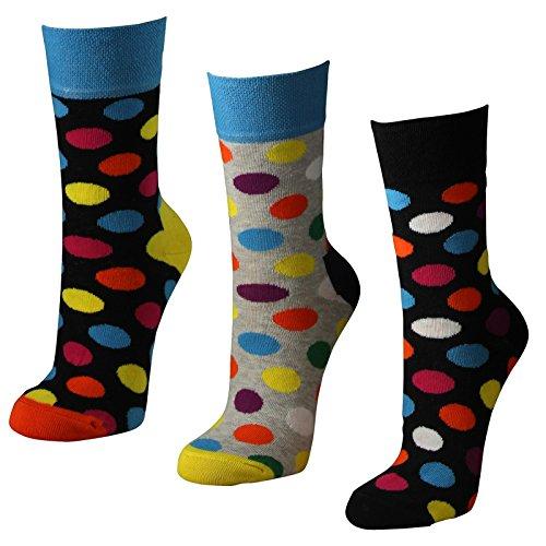 Lavazio 6 Paar Damen Socken mit farbigen Punkten in melange grau & schwarz, Farbe:mehrfarbig, Größe:35-38