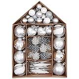 Victor's Workshop 70Pcs Bolas de Navidad Set, Adornos de Navidad para Arbol, Decoración de Bolas Navideños Inastillable Plástico de Plata y Blanco, Regalos de Colgantes de Navidad (Invierno Congelada)