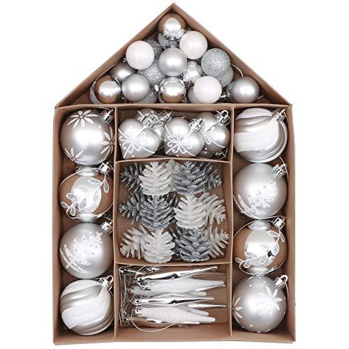 Victor's Workshop Palline di Natale Christmas Baubles 70 Pezzi Palline di Natale di Plastica Decorazioni di Natale Decorazioni di Alberi di Natale Ornamenti dNatalizie Argento Bianco