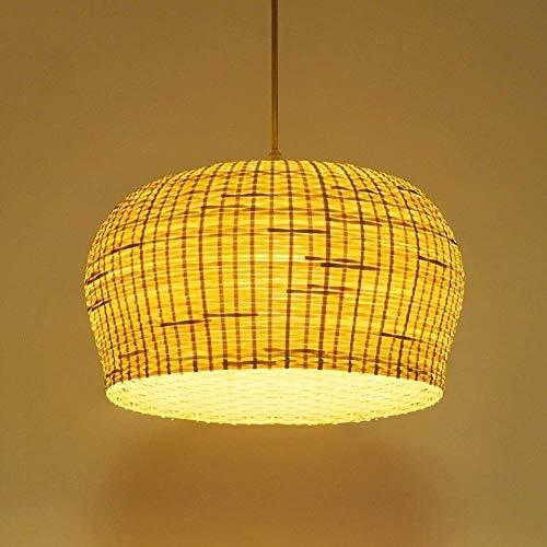 QTRT Lámpara de araña de madera antigua Lámpara de mimbre de bambú Luces colgantes de ratán Lámpara de techo asiática rústica primitiva Dormitorio Cabecera E27 Luz colgante Decoración del hogar Ilumin