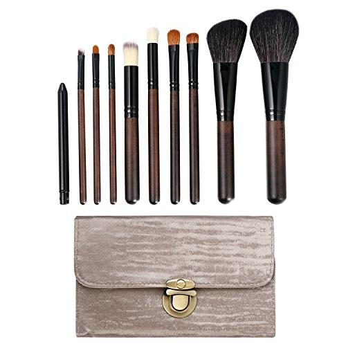 Vtrem Make-upkwastenset, 10 stuks, voor oogschaduw, eyeliner, lippen, make-up, compacte poeder, rouge, accessoires met draagtas
