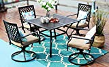 PHI VILLA Outdoor Patio Dining Set 5 Pieces Metal Furniture Set, 4 x Swivel Chairs with 1 Rectangular Umbrella Table for Ourdoor Backyard Bistro with Cushion