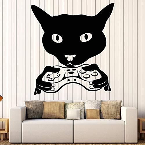 Cabeza de gato calcomanías de pared reproductor joystick habitación dormitorio de los niños guardería decoración de interiores vinilo pegatinas de ventana mural creativo