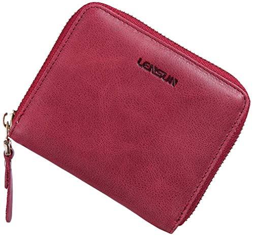 LENSUN Geldbörse Damen Klein, Leder Mini Münze Portmonee mit Reißverschluss um Kartenfächer Brieftasche für Frauen - Wein Rot