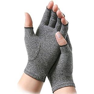 Anti Arthritis Compression Gloves Doctor Written Handbook Women Fingerless Relieve Arthritis Symptoms Raynauds Disease Carpal Tunnel (M)