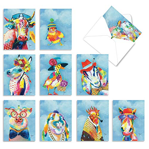 The Best Card Company - 10 Blank Note Cards for Kids (4 x 5.12 Inch) - Assorted Mythical, Fantasy Greeting Cards - Funny Farm M6563OCB