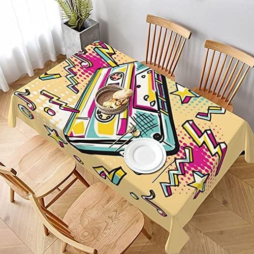 Mantel Rectangular,Casete de Audio Dibujado Colorido Funky,Mantel Lavable Resistente a Las Arrugas para Fiestas, Bodas, Cocina, Navidad, Cubierta de Mesa de Buffet 152x228cm