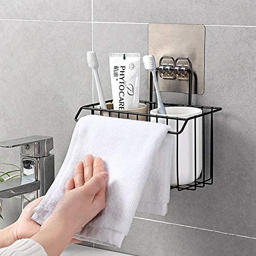 TOUA Stainless Steel Wall Hanging Bathroom Shower Caddy Basket Shelf for Bathroom Sink Sponge Holder, Shampoo, Cosmetic Liquid and Toothbrush Holder with Kitchen Towel Rack Stand- Black product image