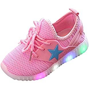 Muium Children Colorful Light Shoes Toddler Infant Baby Boys Girls Star Luminous Sneakers Boots for 1-8 Years Old (26(Aged 3.5-4 Years), Pink)