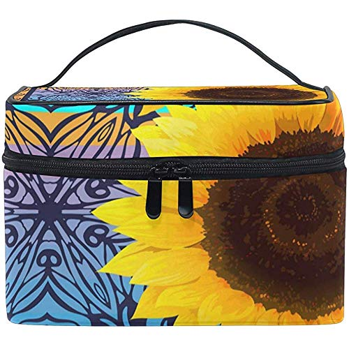 Cosmetic Bag, Floral Sunflower Travel Makeup Organizer Bag Cosmetic Case Portable Train Case-0188-B1CE