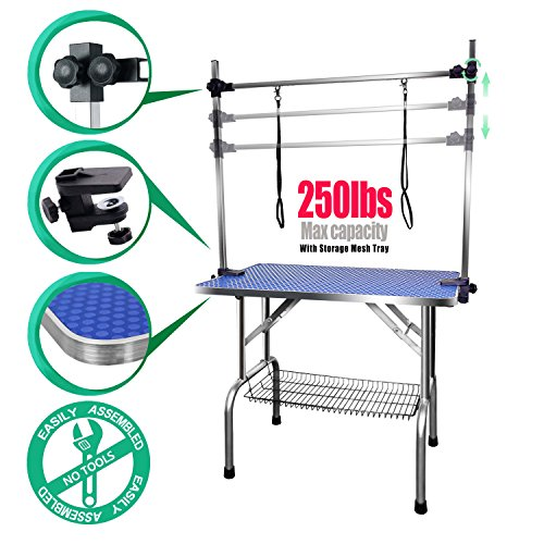 SCYL 36' Foldable Dog Pet Cat Grooming Table with Arm Clamp for Large Animals (36' L X 24' W)
