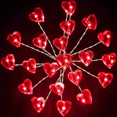 Valentines Day Lights, 2 Pack Heart Shaped Firework Lights, 20 LEDs Starburst String Fairy Hanging Battery Operated Lights for Valentine's Day Wedding Indoor Outdoor Bedroom Garden Party Decoration