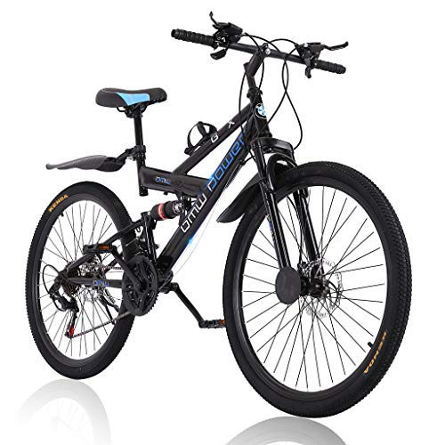 MTFITNESS 2020 New 26 Inch Mountain Bike,High Carbon Steel Frame Bike with 21 Speed Shimano Shifter and Double Disc Brake, Double Suspension Anti-Slip Bicycle for Adult Black