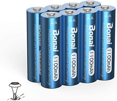BONAI 単3形充電池 ソーラー庭園灯の充電池 充電式ニッケル水素電池 単3 1100mAh 8本 約1200回使用可能 自然放電抑制 ソーラーライト用大容量、ガーデンライト、ソーラーランプアンチリーク、屋外耐久性 (充電池 単3)