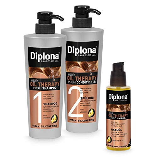 DIPLONA Pflegeset für trockenes & lockiges Haar - Shampoo, Spülung & Haar Öl YOUR OIL THERAPY PROFI mit Arganöl für Frauen - veganes Haarpflege Set ohne Silikone & Parabene