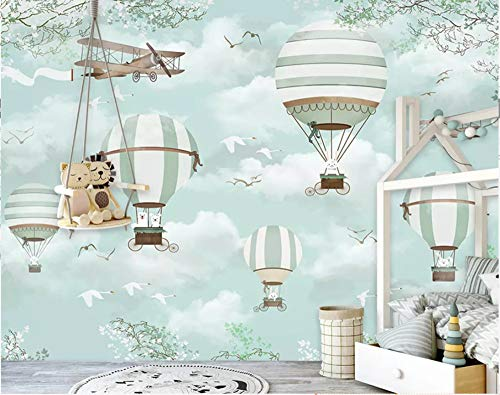 Gran fondo de pantalla personalizado Mural de dibujos animados aerostático globo aerostático cielo azul pintado a mano de dibujos animados para niños 3D Wallpaper, 350 × 245 cm