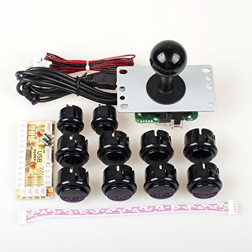 EG STARTS Ritardo Zero Arcade Fai da Te Maniglia Encoder Kit Parts USB al PC Games 5 Pin Joystick + 24mm 30 Millimetri Pulsanti per Arcade Cabinet Mame & Raspberry Pi 2 Project 3B Modello (Nero)