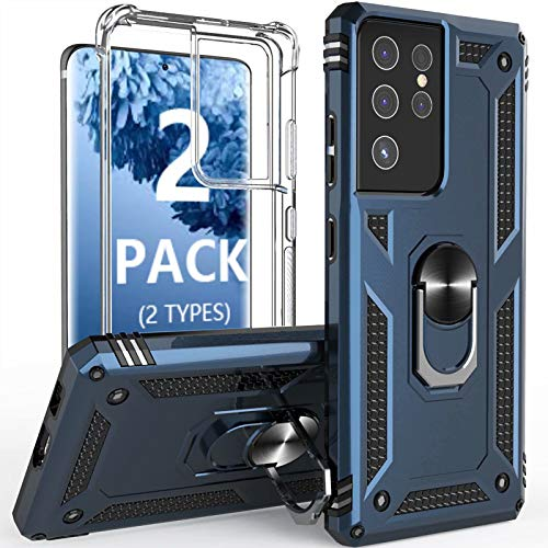 [2 Pack] Profer Compatible with Samsung Galaxy S21 Ultra 5G Case Clear with Stand Kickstand Ring Slim Heavy Duty Defender Armor Military Grade Silicone Phone Cover for Samsung S21 Ultra Case Blue