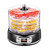 VIVOHOME Electric 400W 5 Trays Round Food Dehydrator Machine with Digital Timer and Temperature Control for Fruit Vegetable Meat Beef Jerky Maker BPA Free