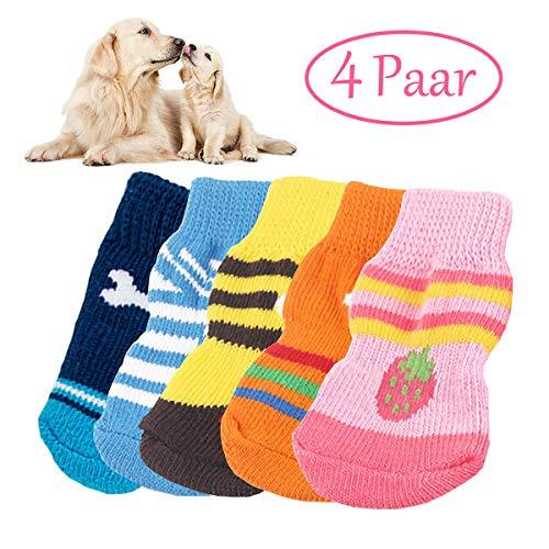 MICHETT Chaussettes intérieures antidérapantes pour chien et chat en silicone Protège les pieds et assure la traction (couleur aléatoire)
