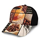 Hip Hop Sun Hat Baseball Cap,Square Frames Collage Design with Orange Cup Hot Beverage Morning Drink,For Men&Women