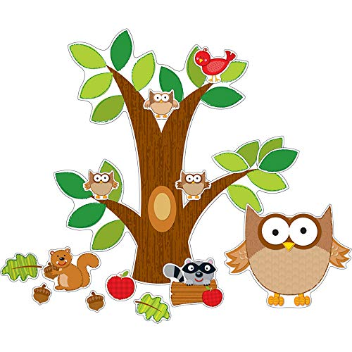 Carson Dellosa Owl Bulletin Board Set—Tree Cutout with Leaves, Animals, Apples, Wall Hanging Decorations, Classroom, Daycare, or Homeschool Learning (43 pc)
