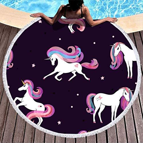 RNGIAN - Toallas de Playa Circulares con diseño de Unicornio para natación, Ligeras, con Borla, poliéster, Blanco, 59 Inch