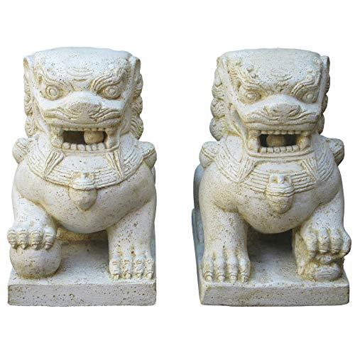 STONE art & more Tempel-Löwen Fu Dogs 2er Set, 40 cm, Steinfigur, Steinguss, frostfest