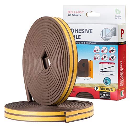 Sanojtape Profile Seal Strip P Marron 16 Mètres, Joint EPDM parfait pour les Fenêtres, les Portes et Isolation, Également Parfait Contre le bruit et les Courants d'air