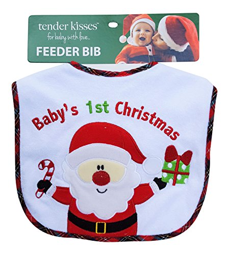 Holiday Tender Kisses Infant Embroidered Bib ~ Baby's First Christmas ~ Santa